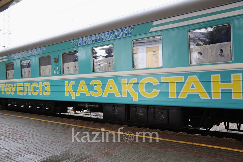 Поезд «Тәуелсіз Қазақстан» прибыл в Южный Казахстан