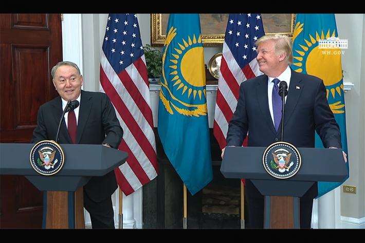 Нурсултан Назарбаев и Дональд Трамп выступили перед прессой